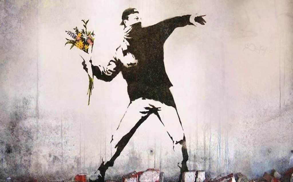 image bansky manifestant a fleur