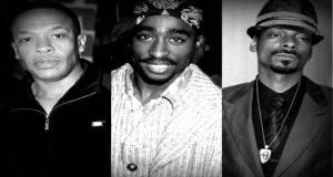 image Dr Dre, 2Pac & Snoop Dogg article intronisation Tupac Hall of Fame