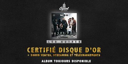 image Niro annonce ventes disque d'or album Les Autres sur Twitter