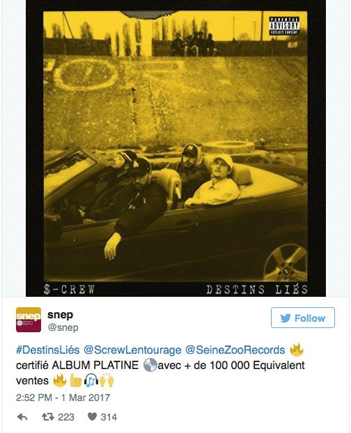 image album Destins Liés du S-Crew certifié disque d'or