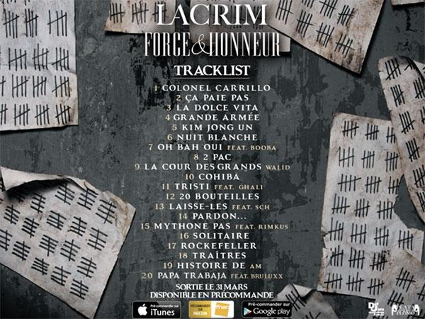image cover tracklist de l'album Force & Honneur de Lacrim