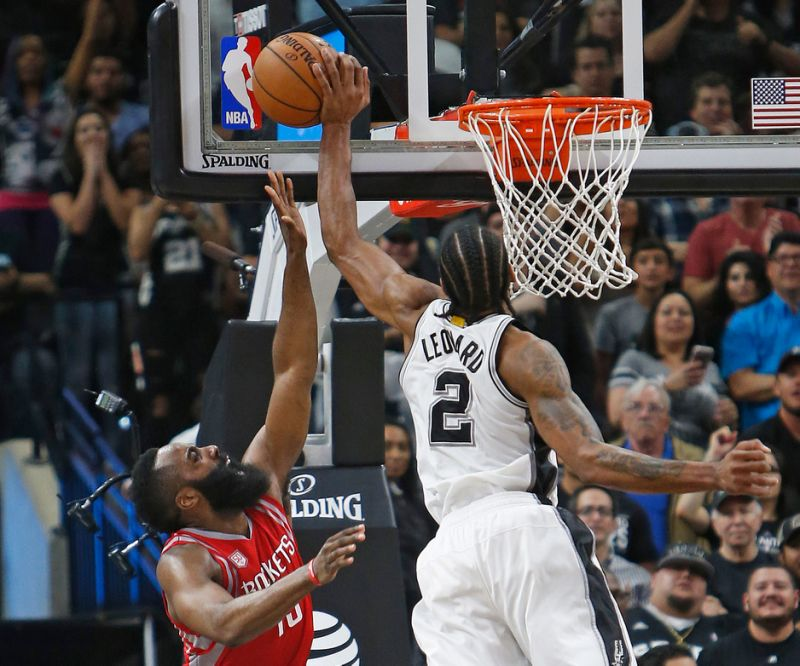 Kawhi leonard block james harden spurs rockets 2016 2017