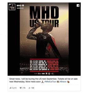 image MHD affiche tournée USA septembre 2017