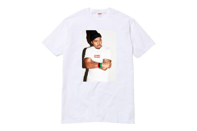 image t-shirt blanc Supreme collaboration Nas