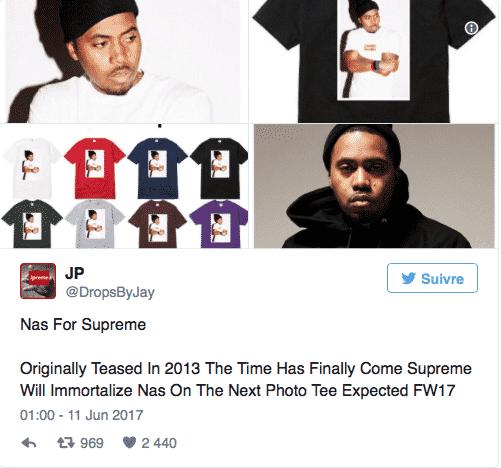 image t-shirts collaboration Supreme et Nas