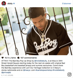 image screen Instagram collection vêtements heritage Bad Boy Records