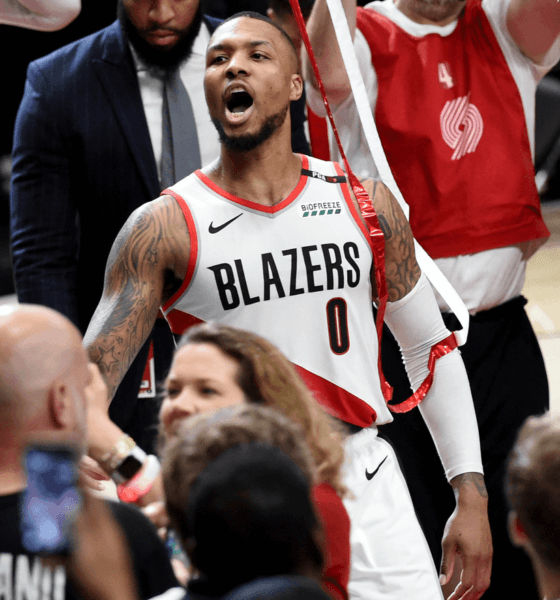 image lillard célébration vs thunder playoffs 2019