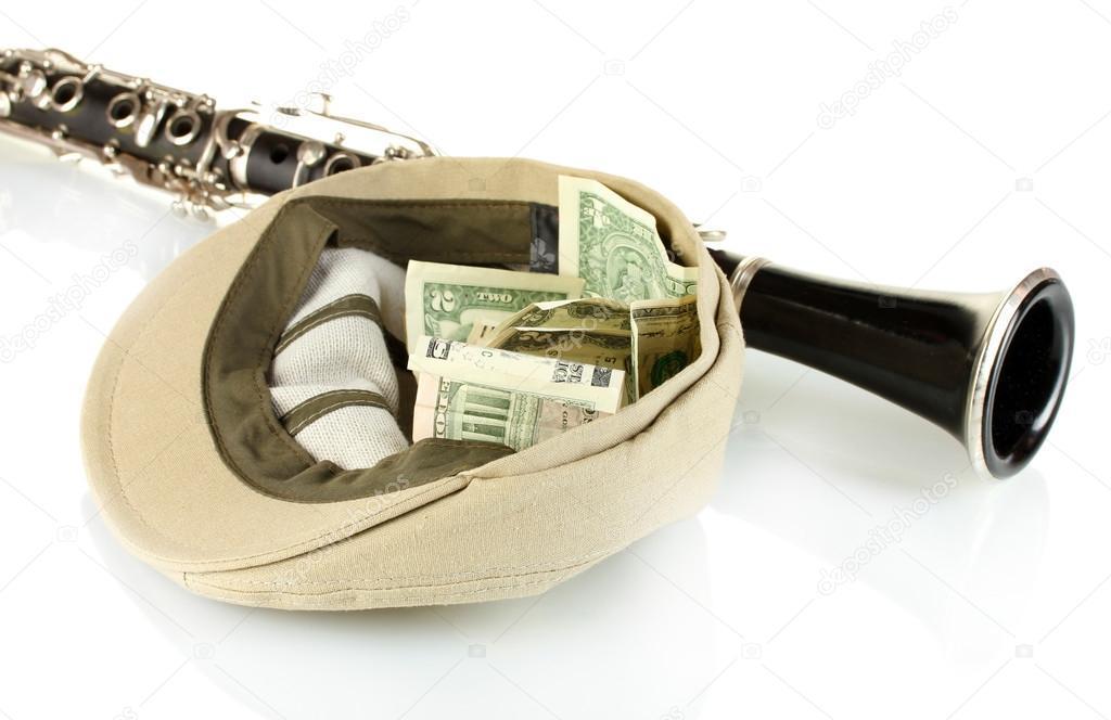 image musicien argent chapeau
