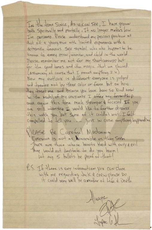 Lettre de 2Pac à Madonna