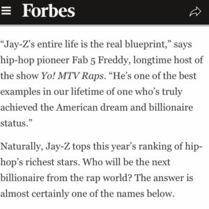 Jay-Z est classé rappeur le plus riche de sa génération en 2019 par Forbes Magazine