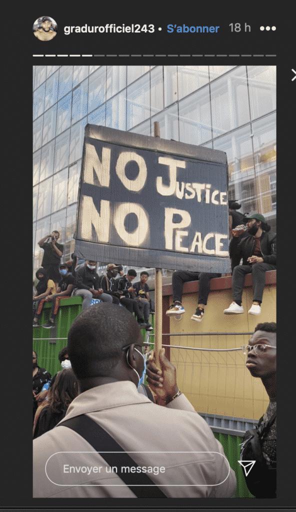 Gradur à la manifestation justice pour Adama