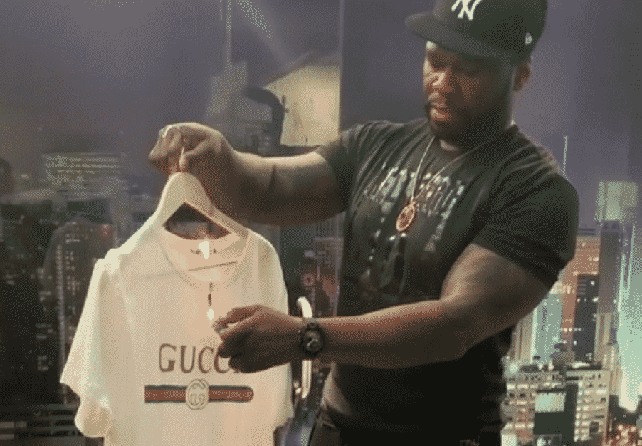 image 50 cent burn gucci t-shirt