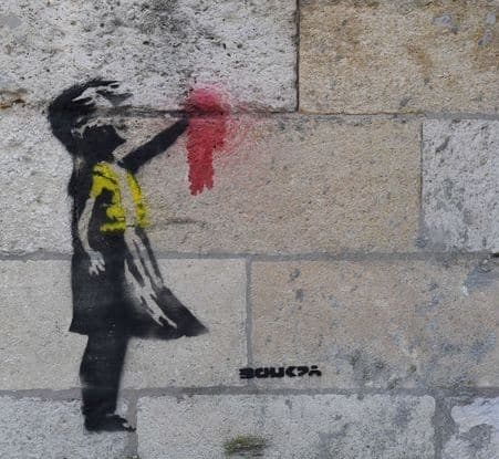 image photo banksy gilet jaune petite fille au ballon 2019 hiphop corner tag